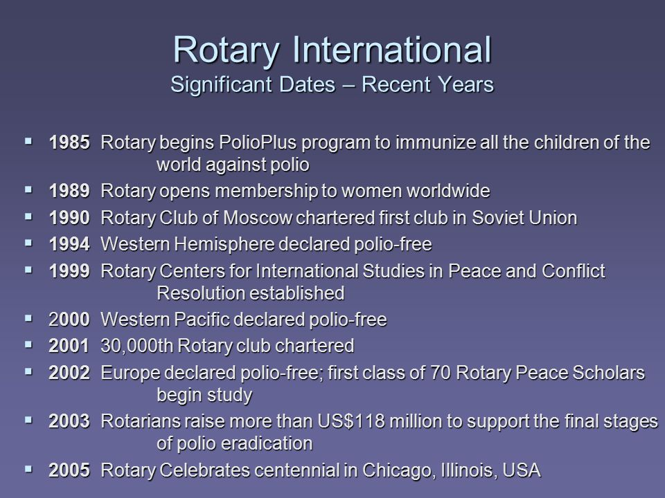 Rotary International Significant Dates – Recent Years