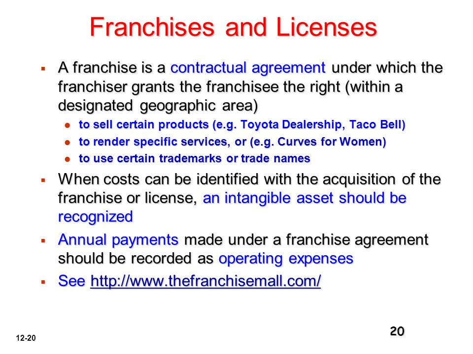 Franchises and Licenses