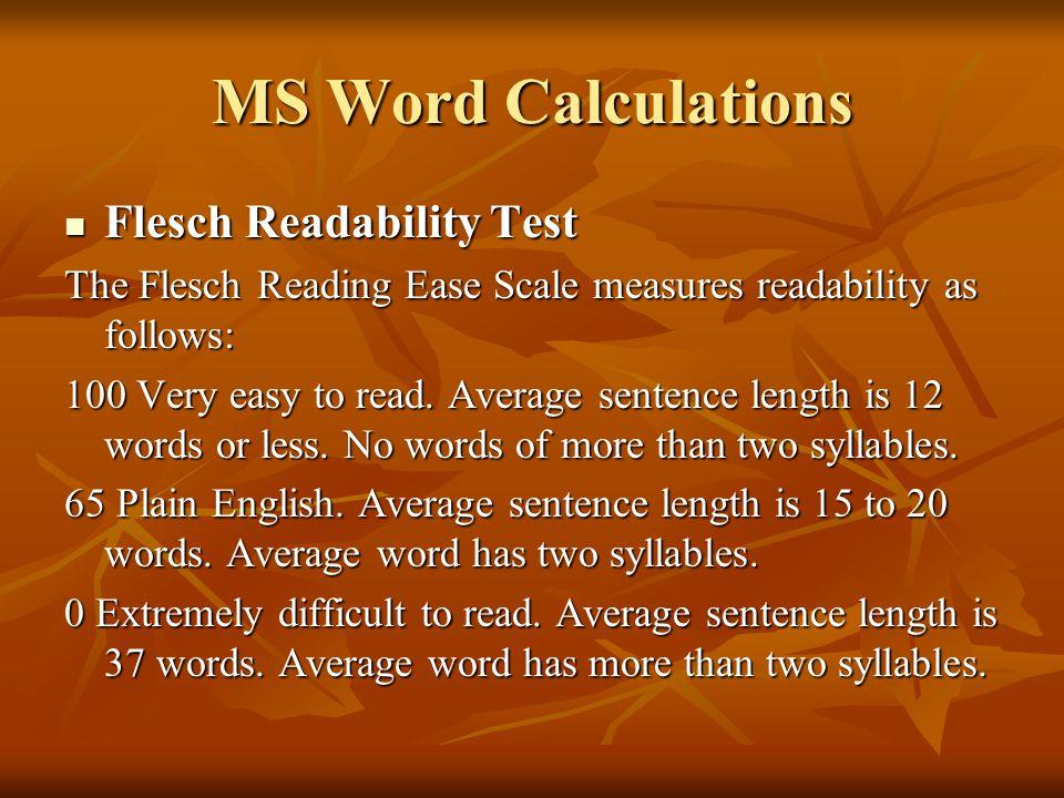 MS Word Calculations Flesch Readability Test