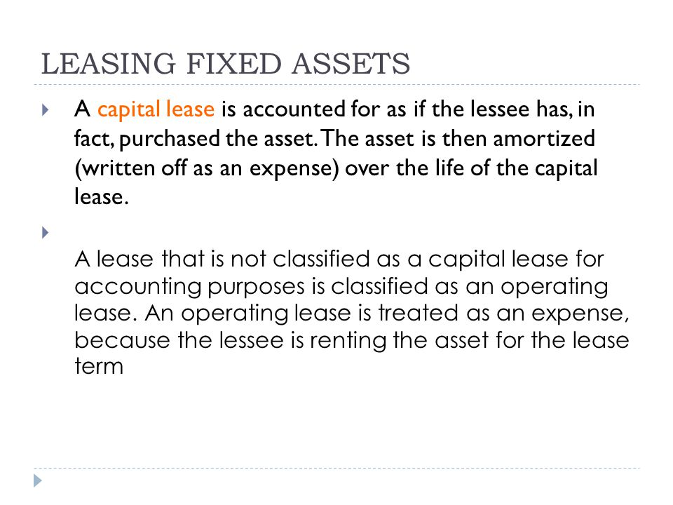 LEASING FIXED ASSETS
