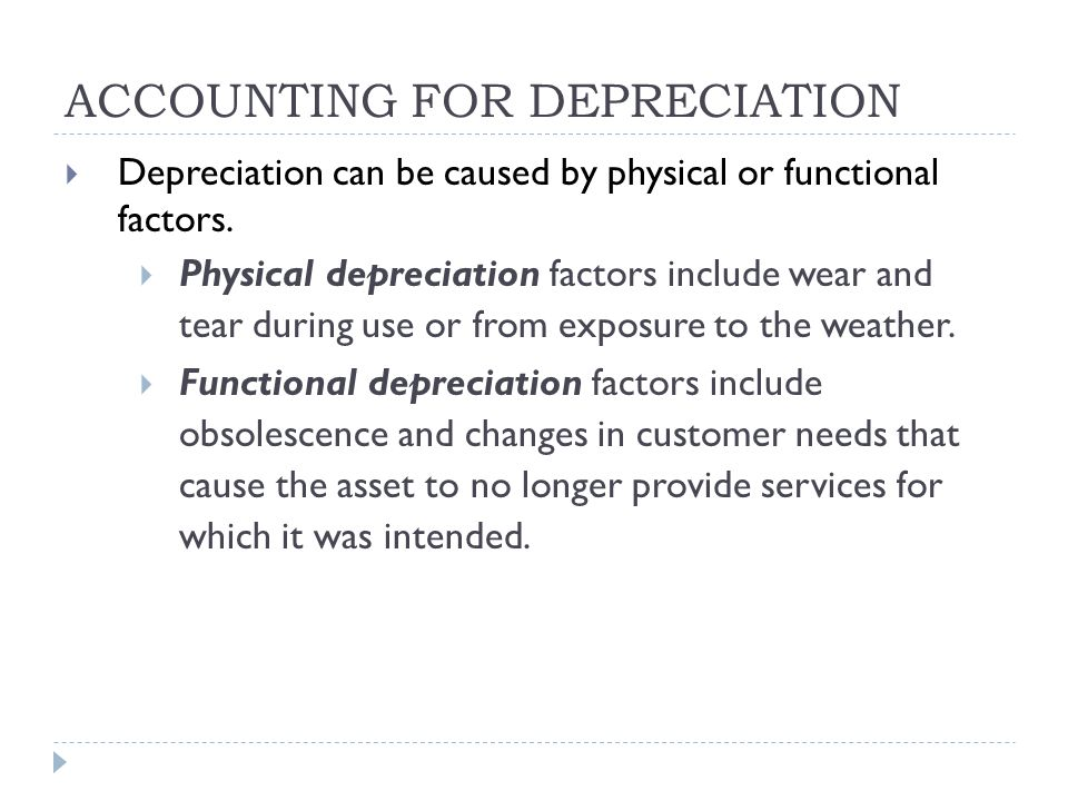 ACCOUNTING FOR DEPRECIATION