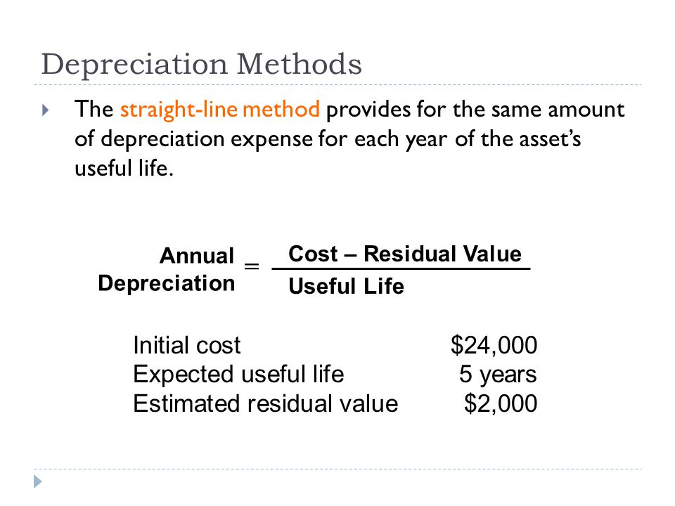 Depreciation Methods =