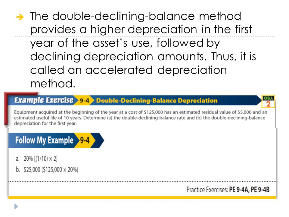 The double-declining-balance method provides a higher depreciation in the first year of the asset's use, followed by declining depreciation amounts.