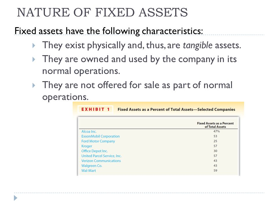 NATURE OF FIXED ASSETS Fixed assets have the following characteristics: They exist physically and, thus, are tangible assets.