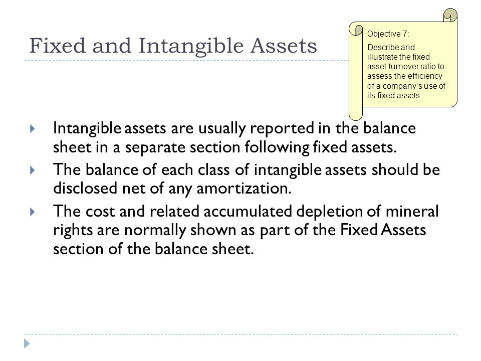Fixed and Intangible Assets