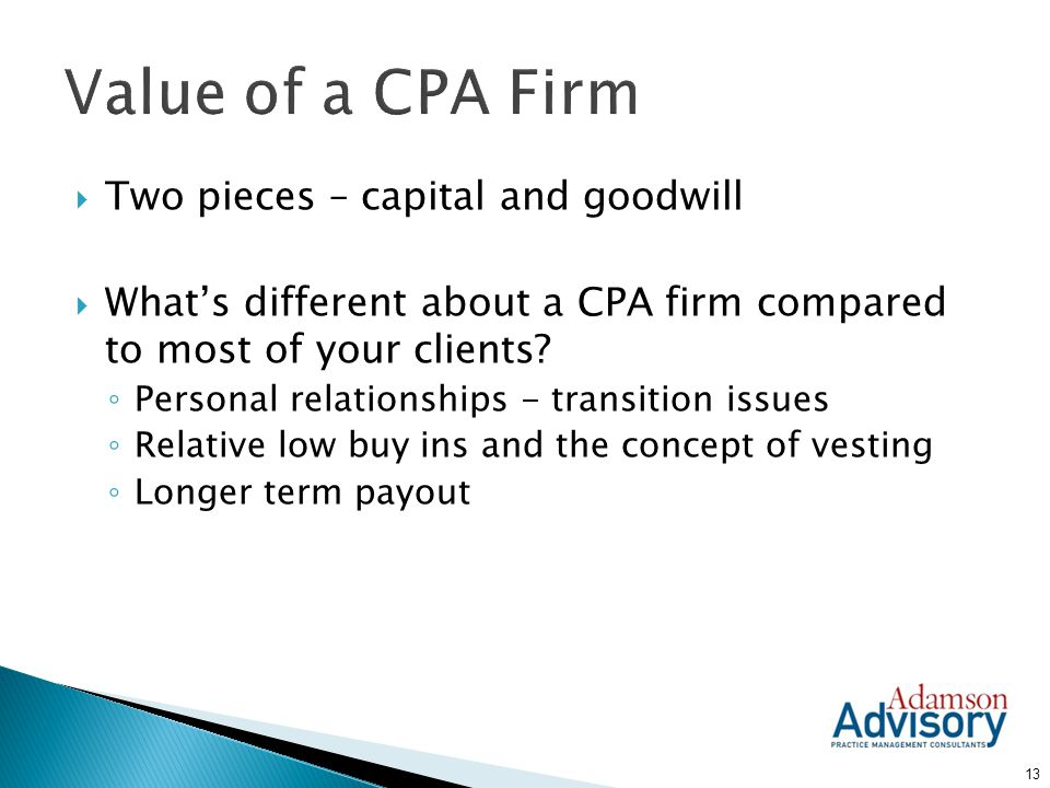 Value of a CPA Firm Two pieces – capital and goodwill