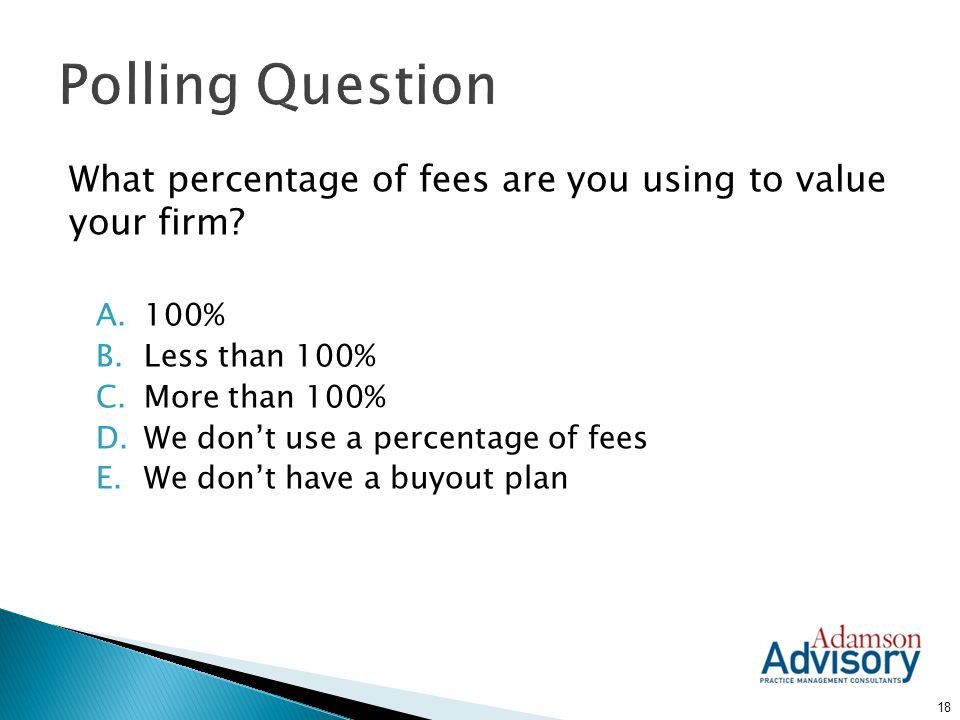 Polling Question What percentage of fees are you using to value your firm 100% Less than 100% More than 100%