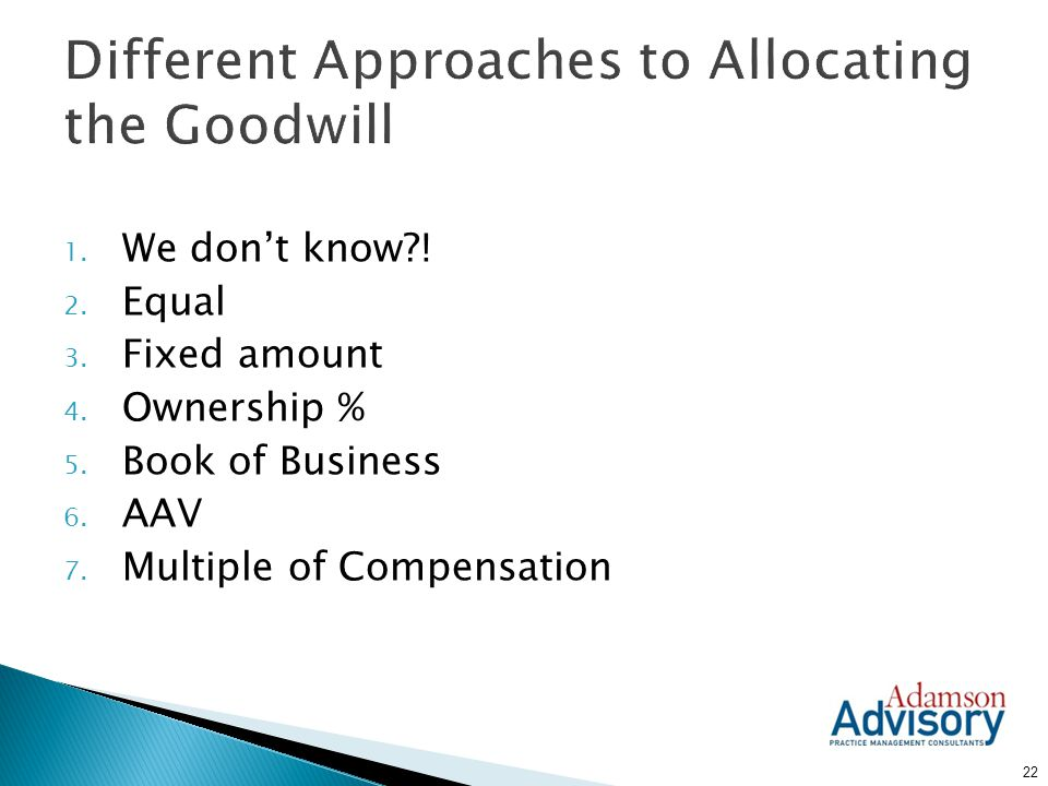 Different Approaches to Allocating the Goodwill