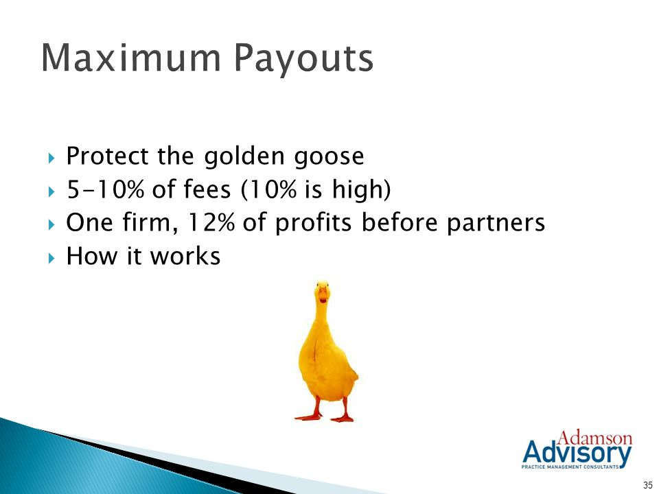 Maximum Payouts Protect the golden goose 5-10% of fees (10% is high)