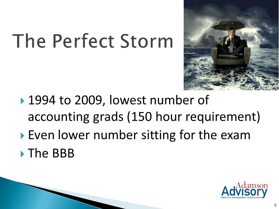 The Perfect Storm 1994 to 2009, lowest number of accounting grads (150 hour requirement) Even lower number sitting for the exam.