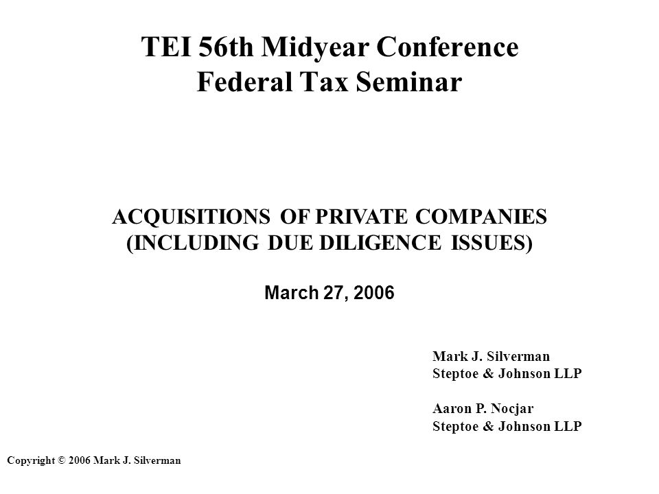 TEI 56th Midyear Conference Federal Tax Seminar