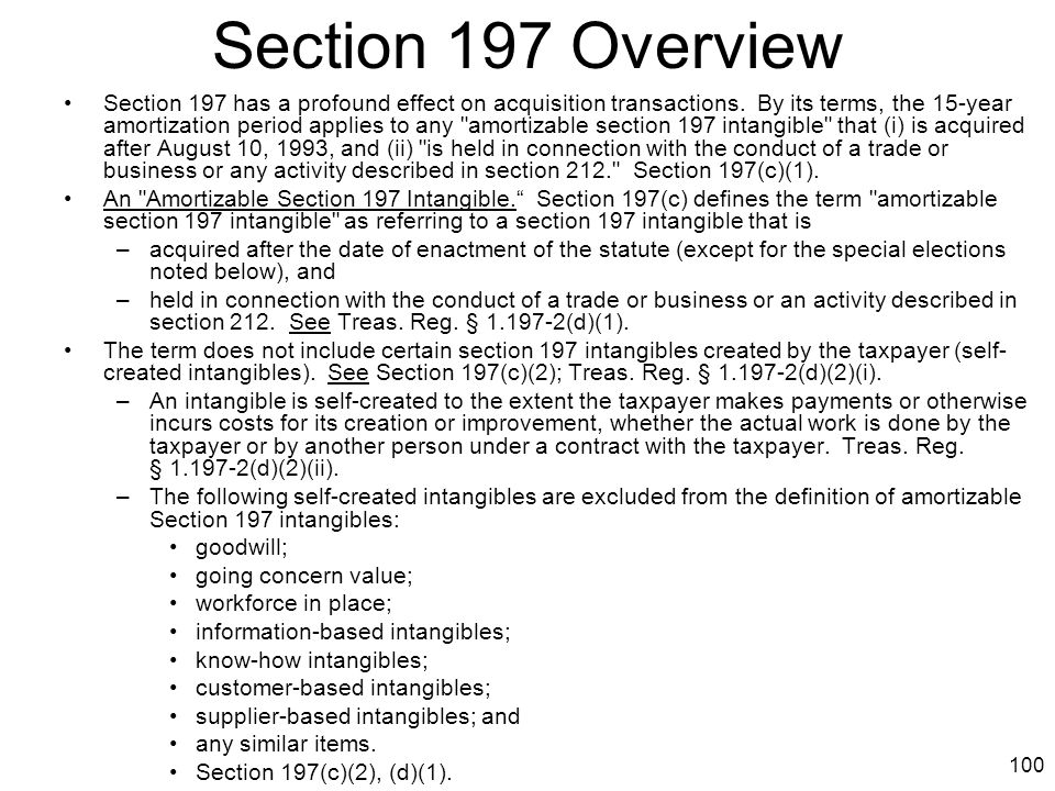 Section 197 Overview
