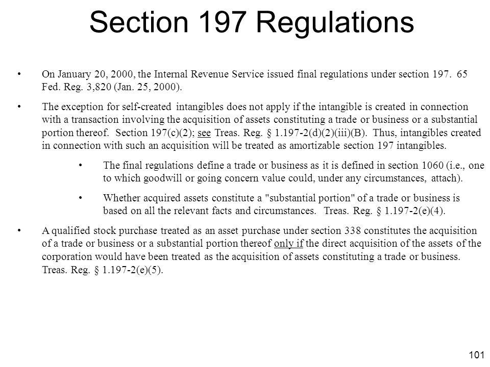 Section 197 Regulations