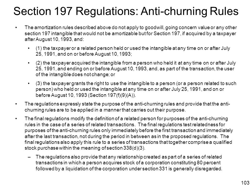 Section 197 Regulations: Anti-churning Rules