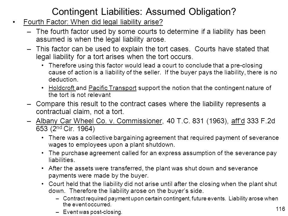 Contingent Liabilities: Assumed Obligation