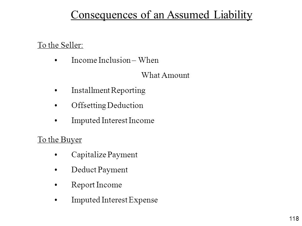 Consequences of an Assumed Liability