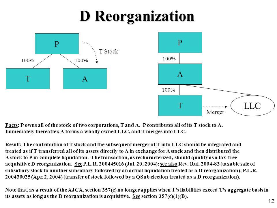 D Reorganization LLC P P A T A T T Stock Merger 100% 100% 100% 100%
