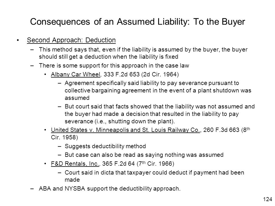 Consequences of an Assumed Liability: To the Buyer