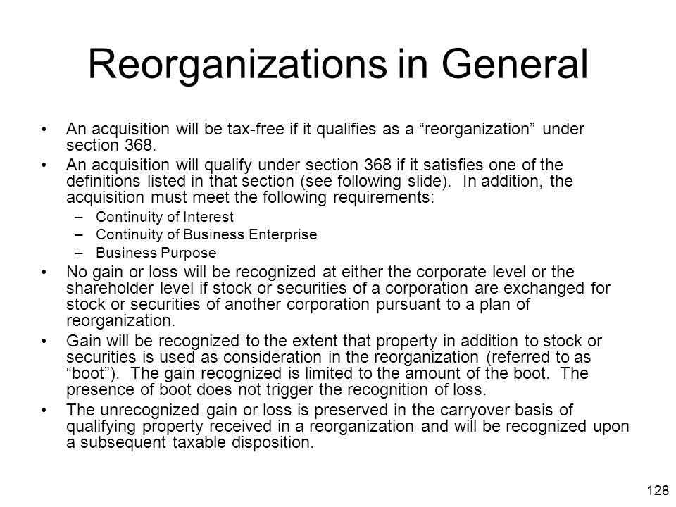 Reorganizations in General