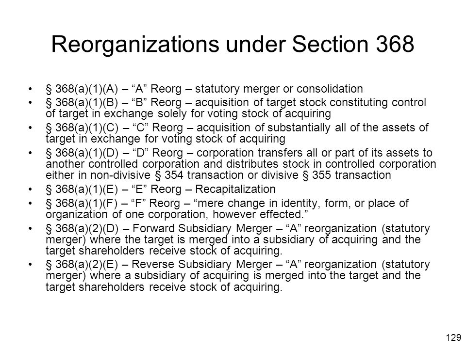 Reorganizations under Section 368