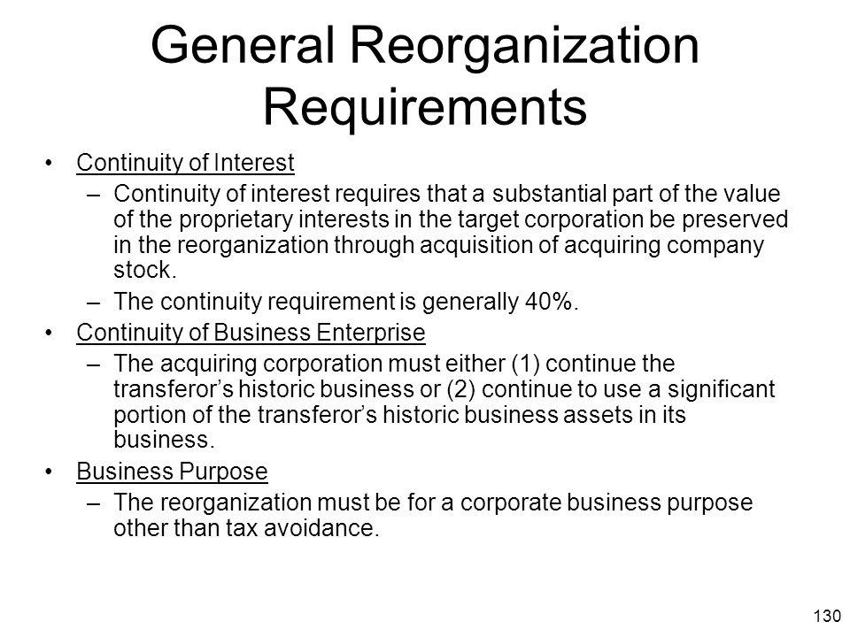 General Reorganization Requirements