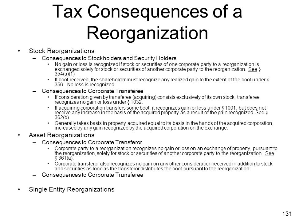 Tax Consequences of a Reorganization