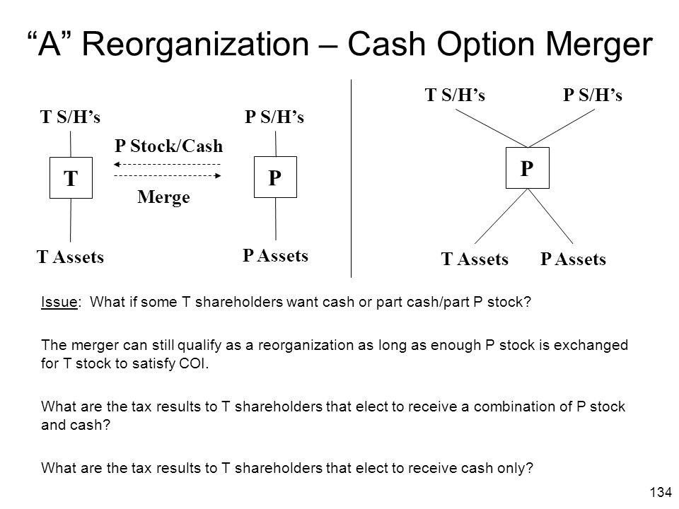 A Reorganization – Cash Option Merger