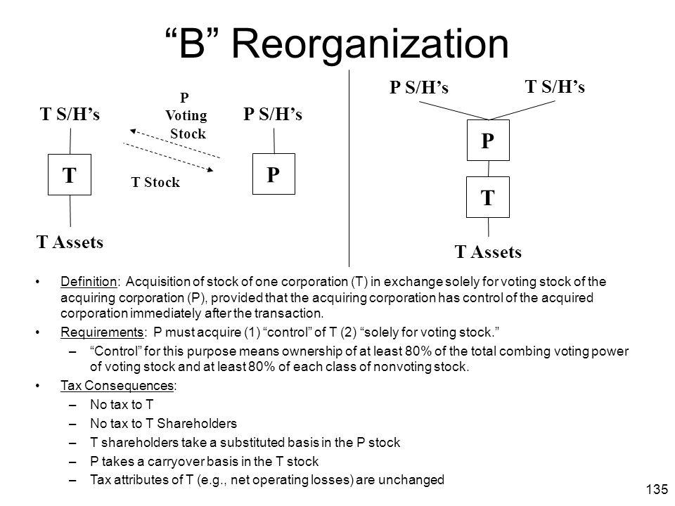 B Reorganization P T P T P S/H's T S/H's T S/H's P S/H's T Assets