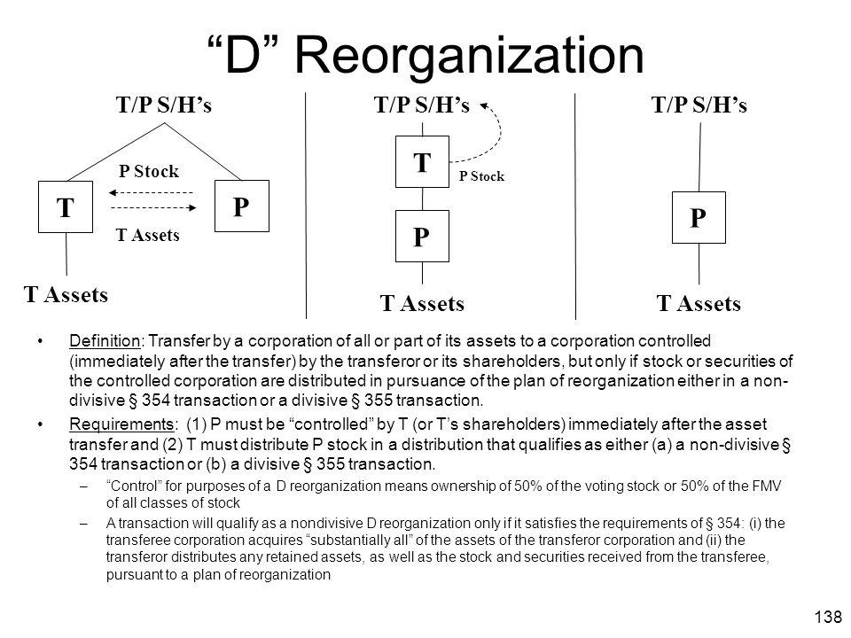 D Reorganization T T P P P T/P S/H's T/P S/H's T/P S/H's T Assets