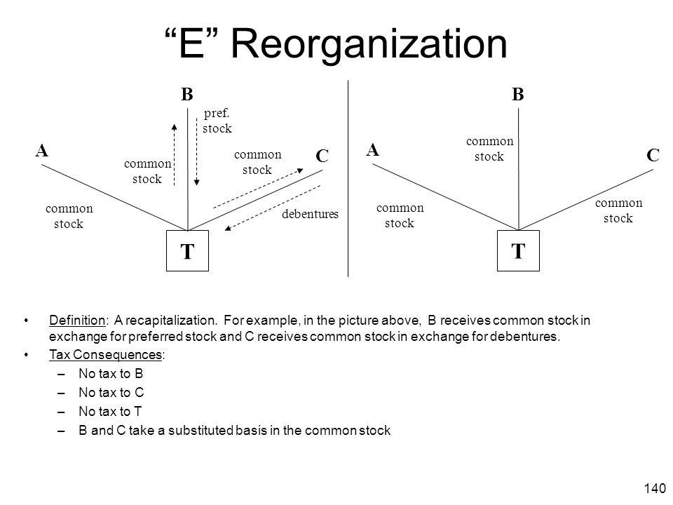 E Reorganization T T B B A A C C pref. stock common stock common