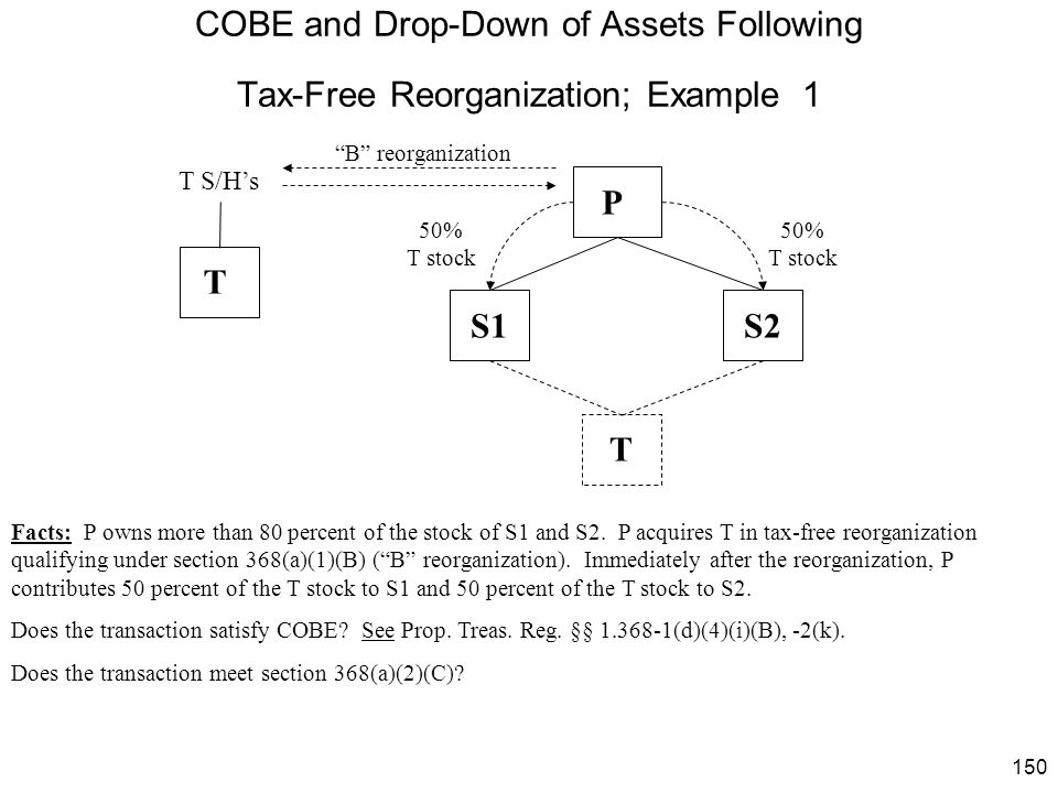 COBE and Drop-Down of Assets Following Tax-Free Reorganization; Example 1