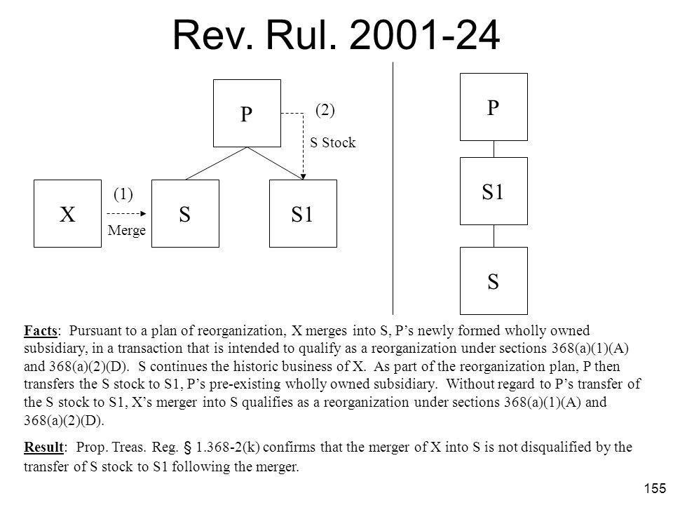 Rev. Rul. 2001-24 P P S1 X S S1 S (2) (1) S Stock Merge