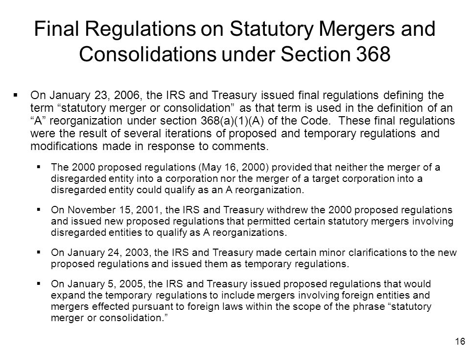Final Regulations on Statutory Mergers and Consolidations under Section 368