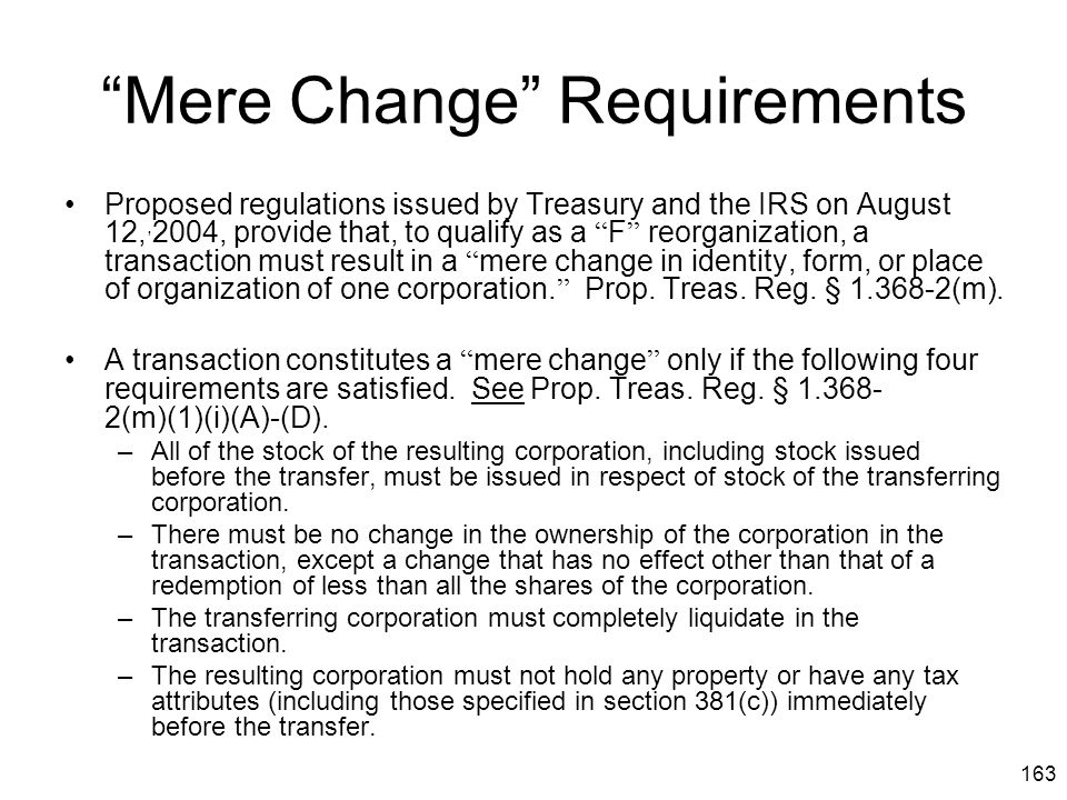 Mere Change Requirements