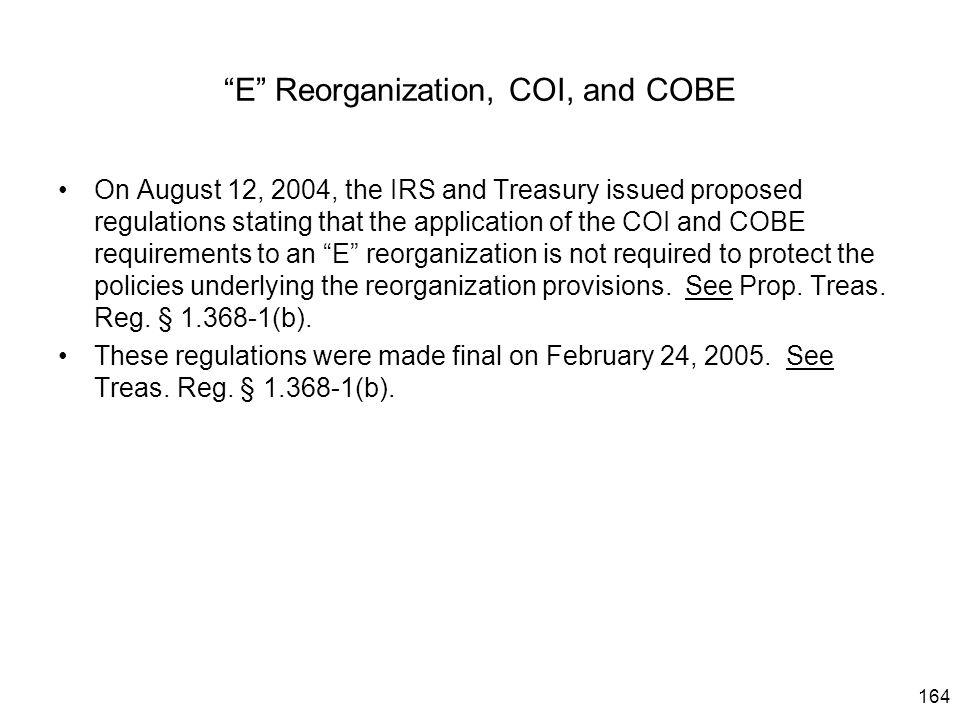E Reorganization, COI, and COBE