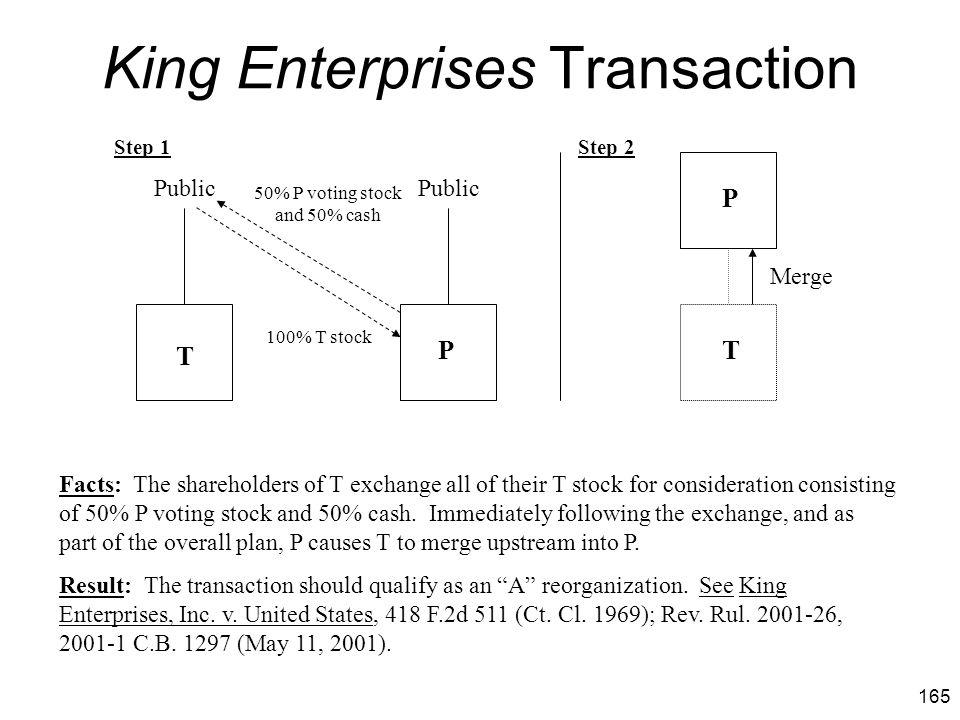 King Enterprises Transaction