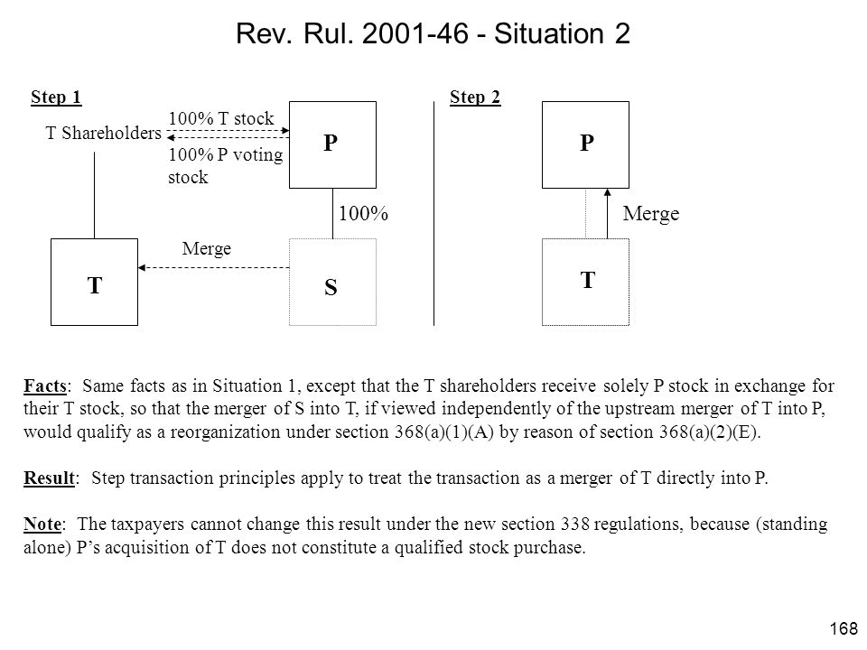 Rev. Rul. 2001-46 - Situation 2 P P T T S 100% Merge Step 1 Step 2