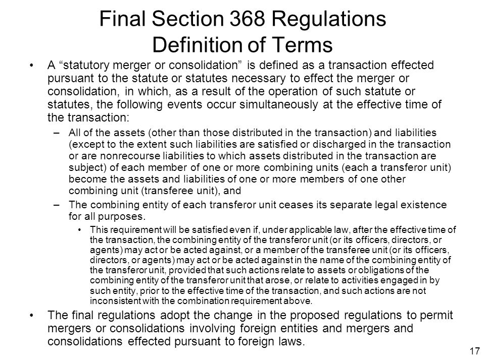 Final Section 368 Regulations Definition of Terms