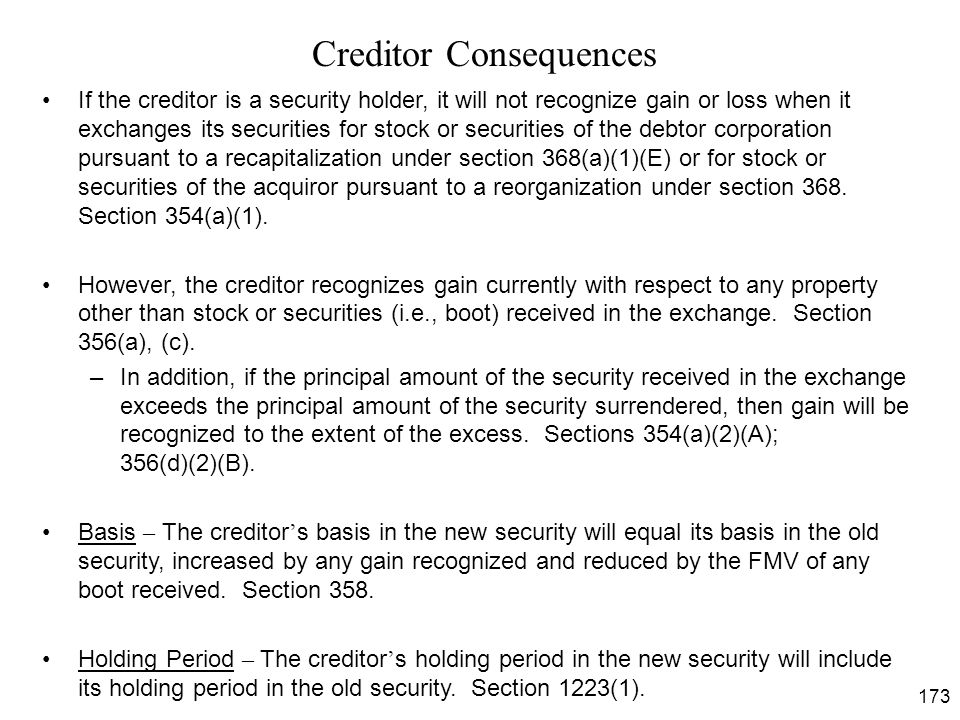 Creditor Consequences