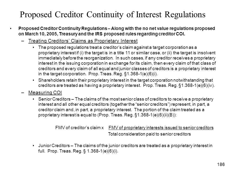 Proposed Creditor Continuity of Interest Regulations