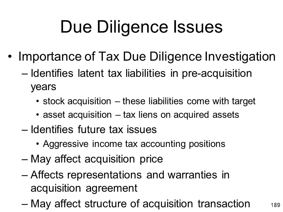 Due Diligence Issues Importance of Tax Due Diligence Investigation