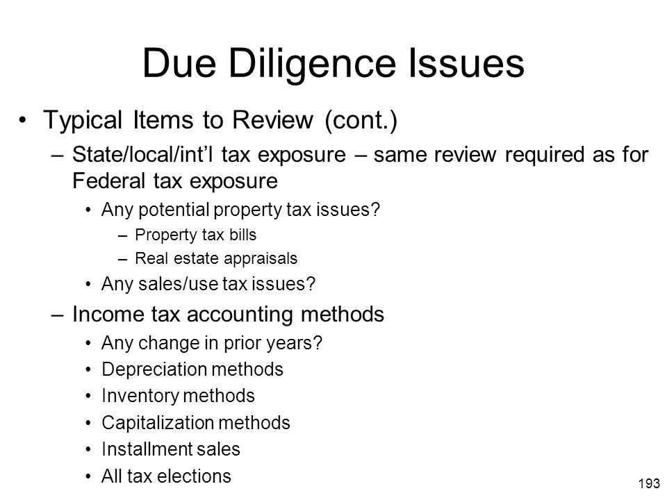 Due Diligence Issues Typical Items to Review (cont.)