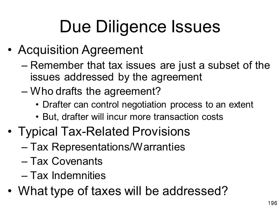 Due Diligence Issues Acquisition Agreement