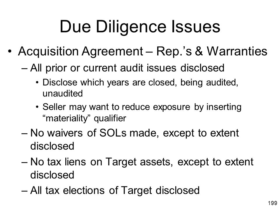 Due Diligence Issues Acquisition Agreement – Rep.'s & Warranties