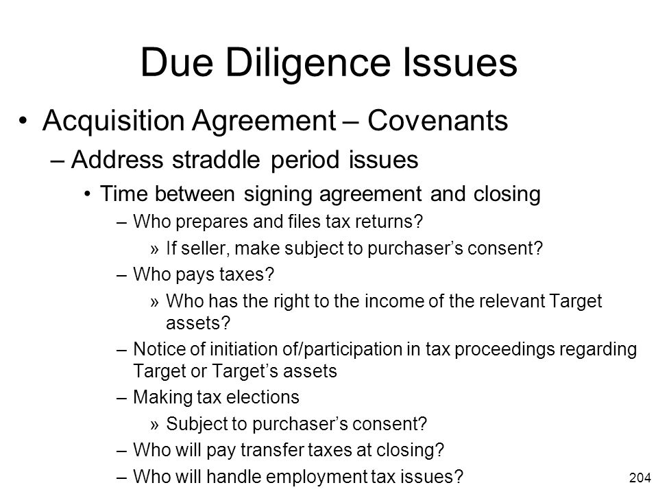 Due Diligence Issues Acquisition Agreement – Covenants