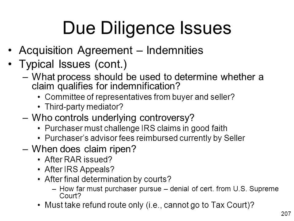 Due Diligence Issues Acquisition Agreement – Indemnities