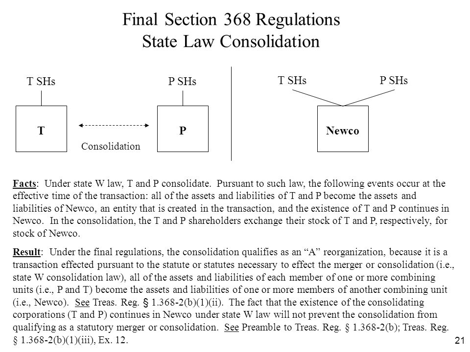 Final Section 368 Regulations State Law Consolidation