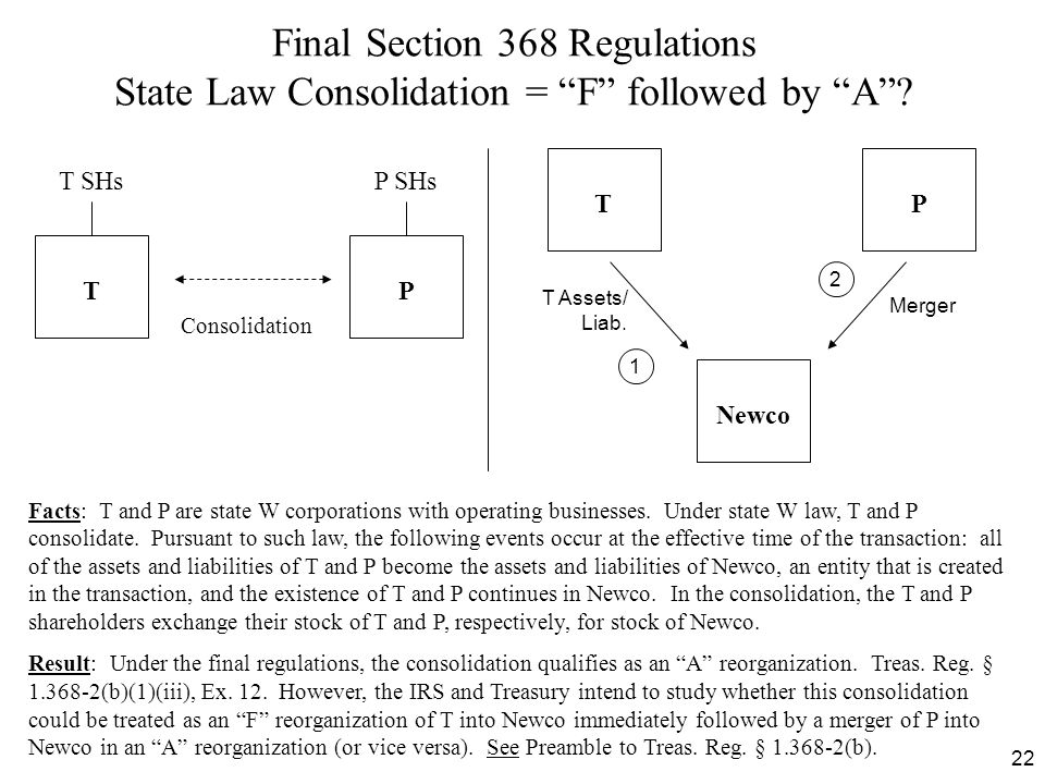 Final Section 368 Regulations State Law Consolidation = F followed by A