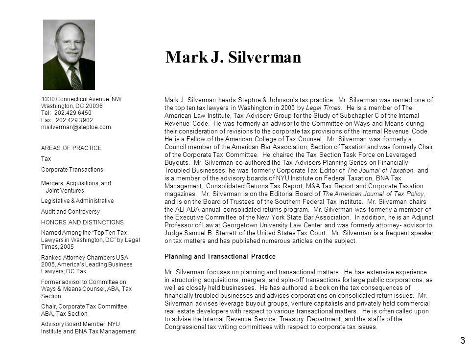 Mark J. Silverman 1330 Connecticut Avenue, NW. Washington, DC 20036. Tel: 202.429.6450. Fax: 202.429.3902.