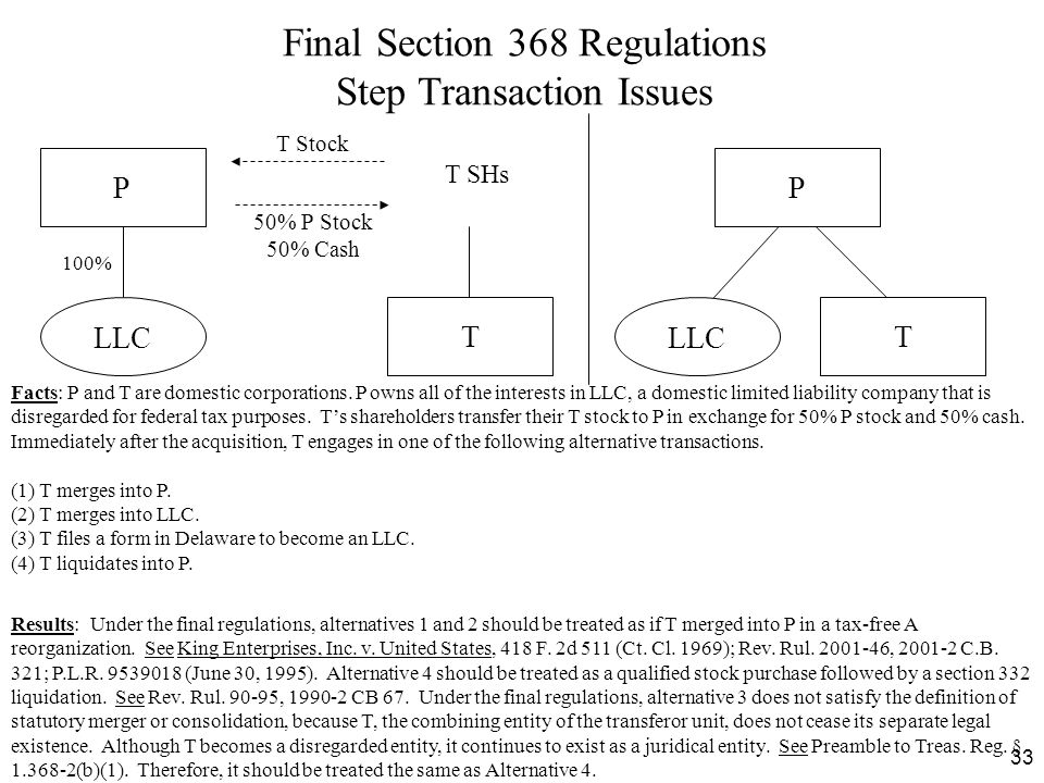 Final Section 368 Regulations Step Transaction Issues